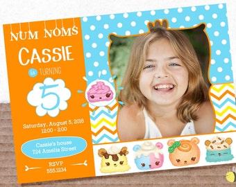 "Num Noms Birthday Party Photo Invitation ~ 7"" x 5"" ~ Printable"