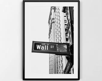 Wall St. | Black and White Photography | New York City | Finance Art | Wall Street Art | Wall Street X Broadway | INSTANT DOWNLOAD