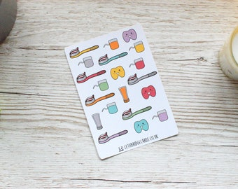 Dental Planner Stickers; Dentist Stickers; Toothbrush Stickers: Floss Stickers; Bullet Journal; Dentist Appointment; Erin Condren size; Filo
