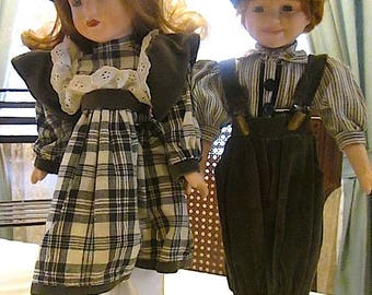 "Vintage 16"" Porcelain Head - Arm - Leg - with Soft Body Girl and Boy Dolls Dressed in Early 20th Century Wear ~ c1980s"