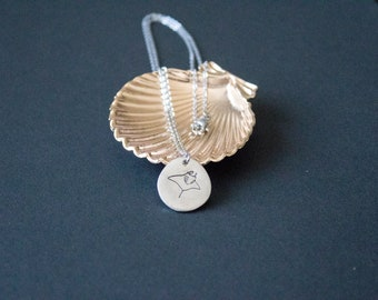 Manta Ray Necklace | Manta Birostris | Manta Pendant | Hand Stamped | Engraved | Minimalist Jewelry | Stingray Jewelry