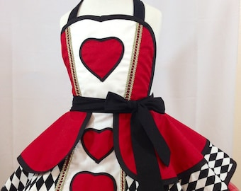 Child's Queen Of Hearts Pin Up Costume Apron, Kid's Apron, Cosplay Wonderland, Retro Apron