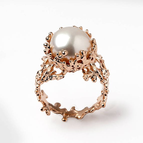 CORAL White Pearl Ring Engagement 14k Rose Gold