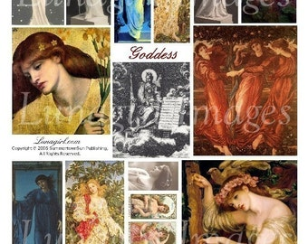 GODDESS digital collage sheet, DOWNLOAD vintage images, altered art, pre-raphaelite paintings, ephemera medieval women myth fantasy cards