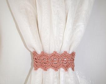 Tan curtain holdback Crochet curtain ties Curtain tie backs Curtain tiebacks Curtain holders Set of 2 Pair of brown curtain tie back