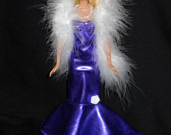 3 Piece Outfit Barbie Doll Dress Handmade Shiny Purple Sheath Dress with Boa and Necklace