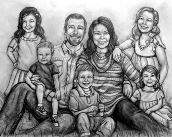 16x20, 7-8 subject Age Progression family pencil portrait. Made to Order. Matting Included.