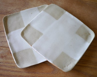Stoneware square plate tray set of two