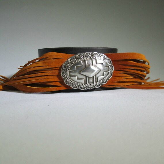 Leather Fringe Cuff with Orange Fringe, Orange Cuff, Fringe Cuff