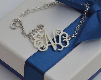 Custom Monogram bracelet-silver monogrammed bracelet-personalized jewelry,bridesmaids gift