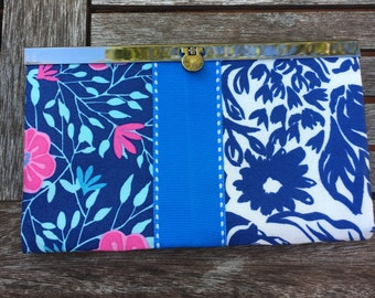 Navy Blue Floral Metal Frame Wallet, Metal Frame  Clutch, Wallet , Clutch , Bride Clutch, Bridesmaid Clutch