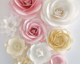 Paper Flower Wall - Wedding Paper Flowers - Paper Flower Backdrop - Large Paper Flowers - Paper Flowers for Nursery