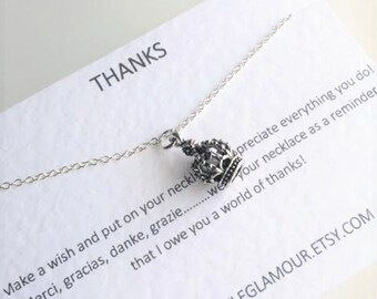 Silver Crown, Crown Necklace, Queen Crown Necklace, Charm Necklace, Bridesmaid Gift,Mothers Day Gift
