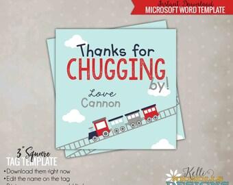 Boy's Train Favor Tag Template, Children's Choo Choo Birthday, Instant Download