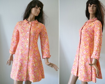 60s woman vintage Twiggy style coat/ yellow pink floral tapestry spring dress coat/ S/M