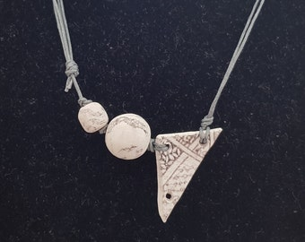 Handmade Polymer Clay Printed Necklace - Circles and Triangle, Handmade Jewelry, Gift for Women