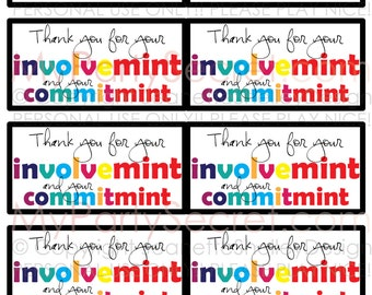 "instant download... DIY Printable Teacher Appreciation ""Involve...mint and Commit...mint"" Gift Tags"