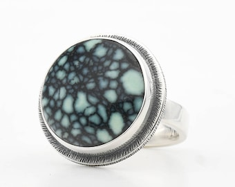 Turquoise Ring, New Lander Turquoise, Variscite, Modernist Polychrome Turquoise, Sterling Silver Ring, Handmade Jewelry, Turquoise Jewelry