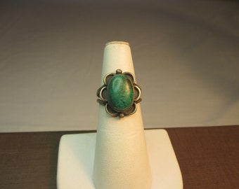 Sterling and Green Turquoise Stone Ring