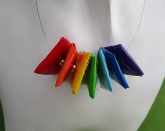 Rainbow bead necklace, rainbow necklace, rainbow beads, bead necklace, handmade bead necklace, paper bead necklace, paper necklace, LGBT