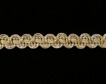 """628 Metallic gimp trim - """"Parallel U with metal ribbon"""" antique-gold - 3/8"""" (9mm), antique gold gimp, metallic gimp trim, metallic gold gimp"""