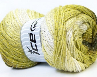100 gr Magic Glitz 22390 Khaki Olive Green White Silver Metallic Self-Striping DK Yarn