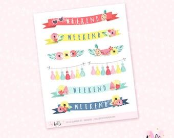 Hello Summer Banner Stickers - 8 deco planner stickers