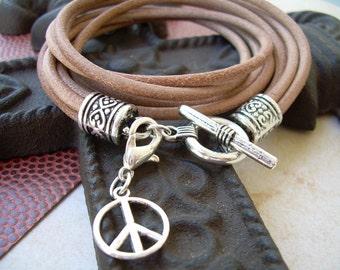 Natural Leather Bracelet, Double Wrap Bracelet, Womens Jewelry, Womens Bracelet, Wrap Bracelet, Womens Gift, Leather Bracelet, Leather Gift