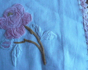 Vintage 1940s Hand Crocheted and Embroidered Table Runner