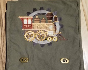 Steam train Embroidered Field Bag
