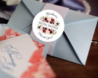 Bridal Shower Stickers, Custom Bridal Shower Labels - Round Bridal Shower labels - Bridal Shower Stickers - Burgundy Rose Candy stickers