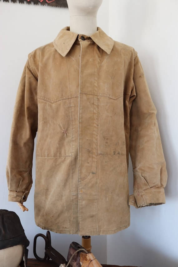 """Vintage 1950s 50s french tan brown canvas hunting jacket workwear chore 49"""" chest work repaired sun faded"""