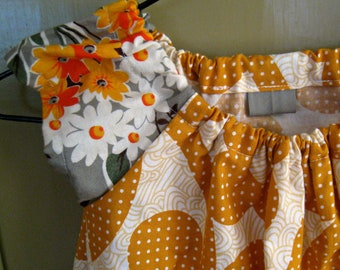SUPER SALE Peasant Dress - Retro Flower- size 3 to 4  years Ready to Ship