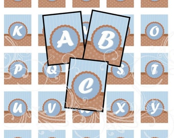 CHOCOLATE BLUE alphabet and more digital collage sheet scrabble tiles