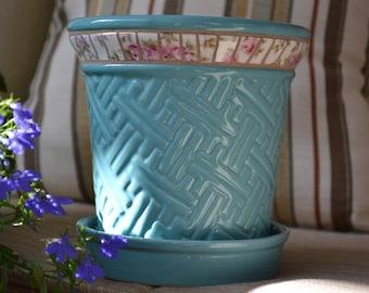Mosaic Broken China Planter with Vintage Pink Roses China