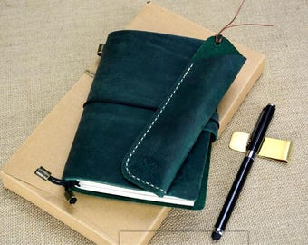 Free Personalized Travelers notebook Cover leather Travelers notebook,Refillable Leather Traveler's Notebook-194mm*130mm-not021