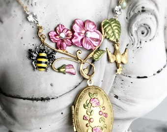 locket necklace flower locket hand painted charm necklace enamel bee bird floral fantasy vintage style fairy tale jewelry SUMMER MEMORIES