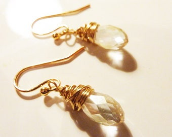 Dainty gold or silver wire wrapped crystal ab earrings