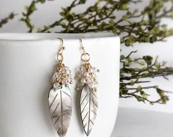 shell leaf earrings boho earrings beachy earrings pearl dangle earrings tropical jewelry kawaii earrings summer jewelry SHORE