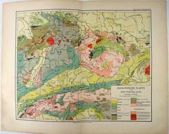 Original Geological Map of Germany in 1892 by Meyers. Antique Chromolithograph