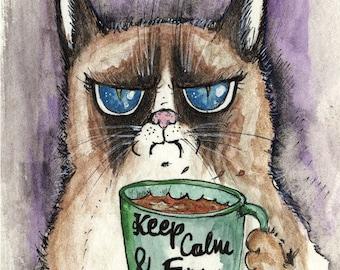Grumpy Cat- Keep calm and.... framed mini print