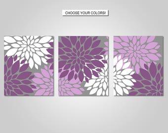 Dahlia Flower Burst Wall Art Decor - Dahlia Flower Burst, Plum Purple, Lavender, Grey - Flower Wall Art - Prints - Canvas - Printable