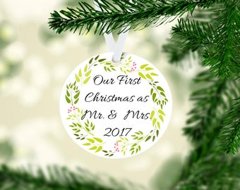 Our first Christmas and Mr. And Mrs. Ornament, our 1st Christmas ornament, married ornament, newlywed ornament, new home keepsake ornament