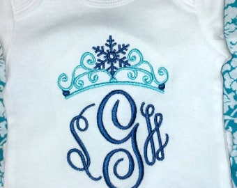 Snowflake Crown Monogram Shirt or Bodysuit, Custom Embroidery, Princess Crown, Baby Girl Princess Shirt