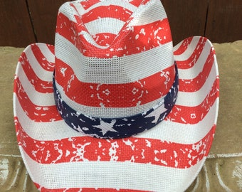Patriotic Red White and Blue Stars and Stripes Cowboy Hat