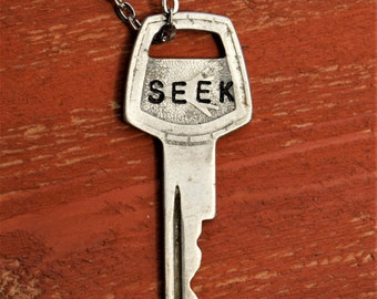 "Hand Stamped Vintage Key ""SEEK"" Necklace (#504) - Jewelry Necklace Pendant Custom"