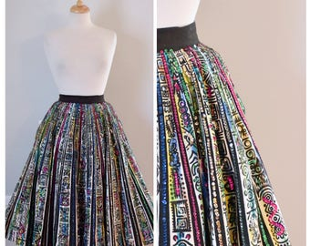 Vintage Skirt / Vintage 50s Skirt / Mexican Skirt / Full Circle Skirt / Hand Painted Skirt / NOS / Sparkle Skirt / Size Small