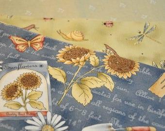 Destash Fabric 3 fat quarters - Sunflower gardening fabric