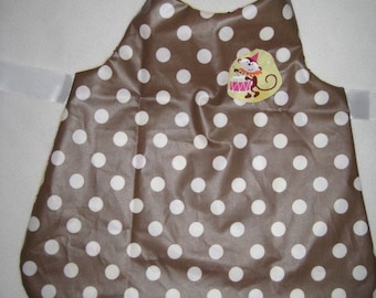 Cotton apron with polka dots and monkeys 6 years