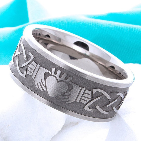 Titanium Claddagh Ring Irish Celtic Titanium Wedding Band